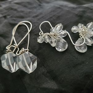 Boutique Jewelry - Earrings 2 Pairs Dangling Silver With Beads
